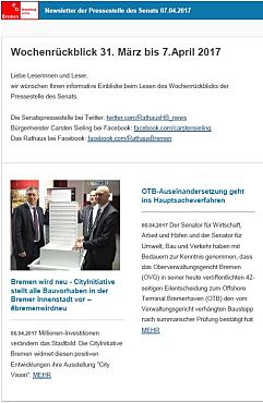 Screenshot des Newsletters vom 07. April 2017
