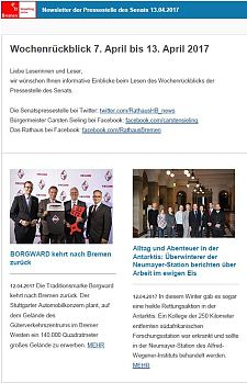 Screenshot des Newsletters vom 13. April 2017