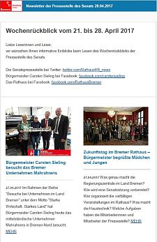 Screenshot des Newsletters vom 28. April 2017