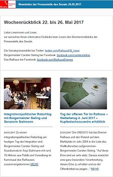 Screenshot des Newsletters vom 26. Mai 2017