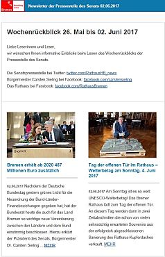 Screenshot des Newsletters vom 02. Juni 2017