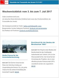 Screenshot des Newsletter vom 7. Juli 2017