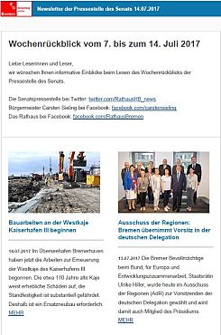 Screenshot des Newsletter vom 14. Juli 2017