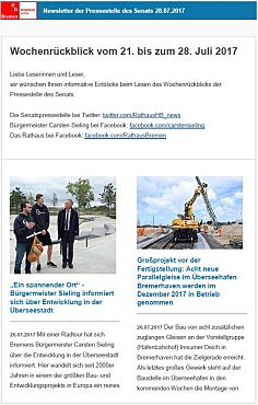 Screenshot des Newsletter vom 28. Juli 2017