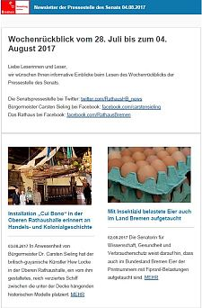 Screenshot des Newsletter vom 04. August 2017
