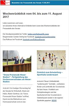 Screenshot des Newsletter vom 11. August 2017