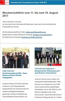 Screenshot des Newsletter vom 18. August 2017