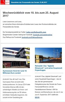 Screenshot des Newsletter vom 25. August 2017