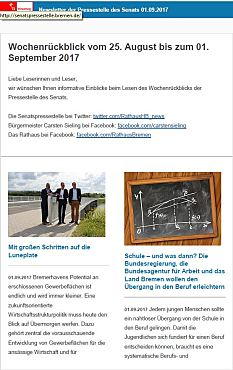 Screenshot des Newsletter vom 01. September 2017