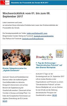 Screenshot des Newsletter vom 08. September 2017