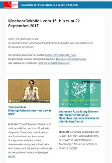 Screenshot des Newsletter vom 22. September 2017