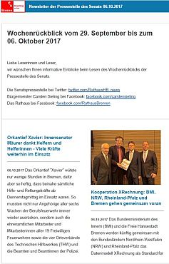 Screenshot des Newsletter vom 06. Oktober 2017