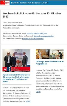 Screenshot des Newsletter vom 13. Oktober 2017