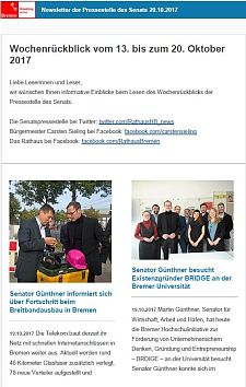 Screenshot des Newsletter vom 20. Oktober 2017