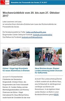 Screenshot des Newsletter vom 27. Oktober 2017