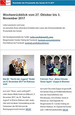 Screenshot des Newsletter vom 03. November 2017
