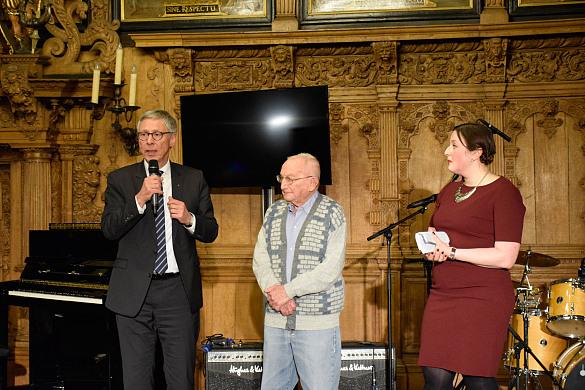 Eröffnung mit Bürgermeister Carsten Sieling, Ehrengast Dan Goren und Moderatorin Irina Drabkina (Jüdische Gemeinde Bremen)
