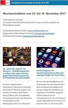 Screenshot des Newsletter vom 10. November 2017