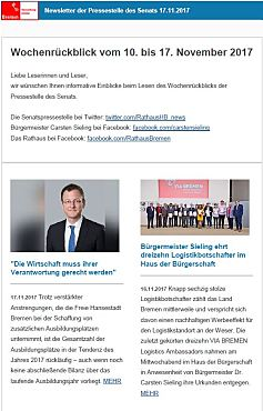 Screenshot des Newsletter vom 17. November 2017