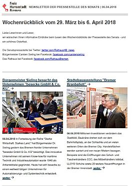 Screenshot des Newsletters vom 06.04.2018