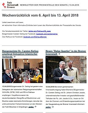 Screenshot des Newsletters vom 13.04.2018