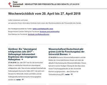 Screenshot des Newsletters vom 27.04.2018