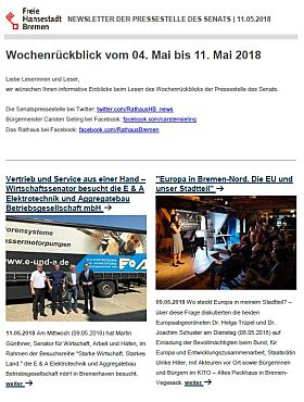 Screenshot des Newsletters vom 4.5.2018