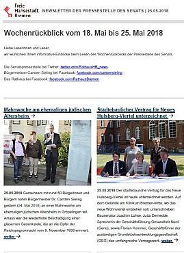 Screenshot des Newsletters vom 25.5.2018