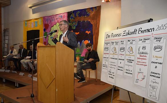Bürgermeister Carsten Sieling begrüßte die Gäste zur Veranstaltung im Bürgerhaus Hemelingen