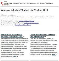 Screenshot des Newsletters vom 28. Juni 2019, JPG, 22.3 KB