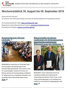 Screenshot des Newsletters vom 6. September 2019, JPG, 27.3 KB