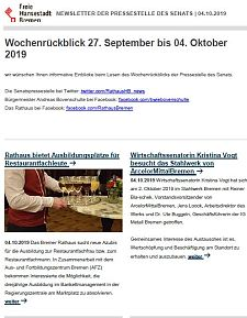 Screenshot des Newsletters vom 4. Oktober 2019, JPG, 24.5 KB