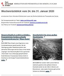 Screenshot des Newsletters vom 31. Januar 2020, JPG, 24.4 KB
