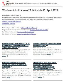 Screenshot des Newsletters vom 3. April 2020, JPG, 23.0 KB