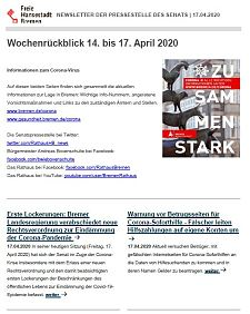 Screenshot des Newsletters vom 17. April 2020, JPG, 25.1 KB
