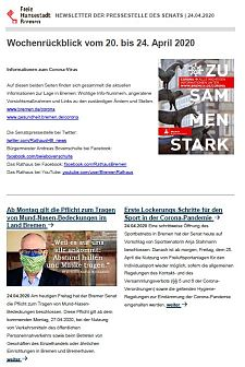 Screenshot des Newsletters vom 24. April 2020, JPG, 29.2 KB