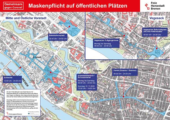 Karten zu den ausgewiesenen Flächen und Uhrzeiten