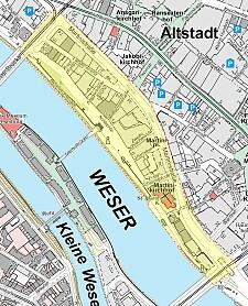 Räumlicher Geltungsbereich 2 – Schlachte: Martinistraße bis über die Wilhelm-Kaisen-Brücke, von dort zum rechten Weserufer, rechtes Weserufer bis über die Bürgermeister-Smidt-Brücke, Bürgermeister-Smidt-Straße
