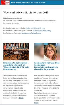 Screenshot des Newsletter vom 16. Juni 2017