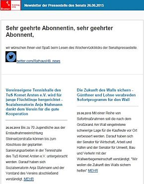 Screenshot des Newsletters vom 26. Juni 2015