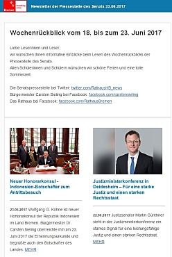 Screenshot des Newsletter vom 23. Juni 2017